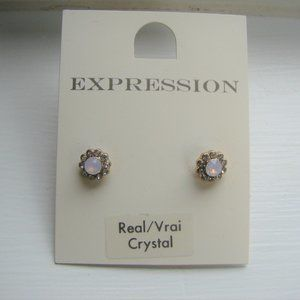 Real Crystal Faux Diamond Stud Sparkly Earrings